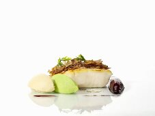Sauteed bass with chestnut oil and pureed parsley