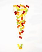 Gummi bears forming an exclamation mark