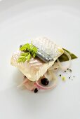 Trout fillet poached in wine with onion
