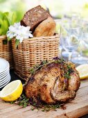 Smorgabord (Swedish buffet) with chicken and bread