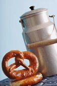 Milk can and pretzels