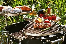Barbecuing out of doors (kebabs, vegetables, potatoes, baguette)