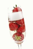 Sparkling wine with fresh strawberries
