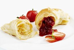Croissant filled with strawberry jam