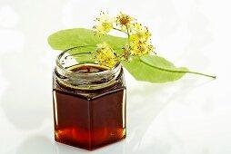 Lime blossom honey in jar