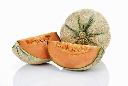 Cantaloupe melons, whole and two quarters