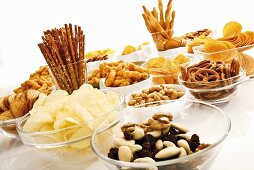 Assorted snacks (salted sticks, trail mix, crisps, crackers)