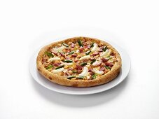 Ham, onion and pepper pizza