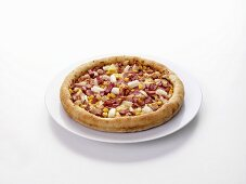 Ham, sweetcorn, chicken and onion pizza