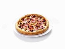 Mince, ham and salami pizza