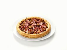 Hearty mince, bacon and salami pizza