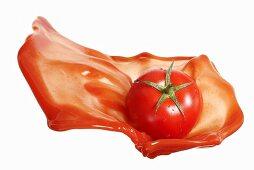 Tomato with ketchup splash