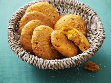 Sesame flatbreads in bread basket