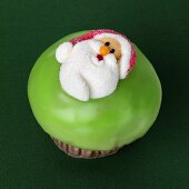 Cupcake with Father Christmas decoration