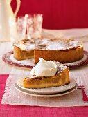 Juicy apple cake with cream
