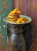 Polenta cakes with caramel pears