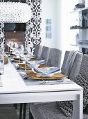 Long table set in shades of black, white and grey
