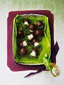 Marzipan mushrooms in a gift box