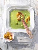 Avocado soup with oyster mushroom tempura