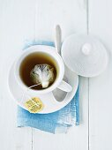 A cup of tea with a tea bag (seen from above)
