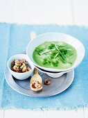Pea and leek soup with shrimps