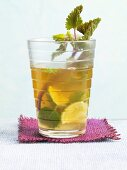 Mint tea Mojito with a sprig of peppermint and limes