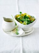 Summery potato salad with green beans and sunflower seeds