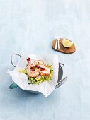 Prawn parcels with courgette strips