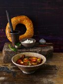 Aubergine soup with tomatoes