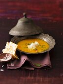 Lentil and coconut soup with naan bread