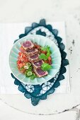 Watermelon relish with peppered tuna