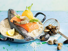 An arrangement of fish and seafood