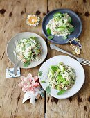 Herb risotto with salmon