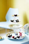 Petit fours and pralines on a homemade cake stand