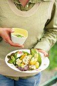 Kartoffelsalat mit Blumenkohl und Bärlauchdressing