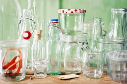 Empty jars and bottles for making preserves