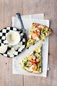 A savoy cabbage and prawn pizza