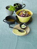 Lentil salad with orange wedges and mint yogurt
