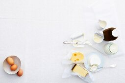 Various dairy products and eggs (seen from above)