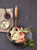 Asparagus and prawn tempura with a dip