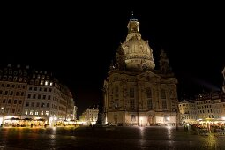 Sacred architecture of Frauenkirche at night on Neumarkt square in Dresden, Germany