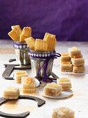 Lemon bites and striped citrus biscuits