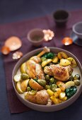 Cabbage dish for the winter: braised chicken with Brussels sprouts