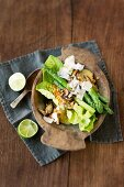 Asparagus and shiitake mushroom salad with a lime and mint vinaigrette