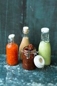 Sauces in preserving jars and bottles