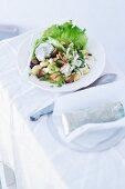 Gnocchi salad with mushrooms, endives and a rocket dressing
