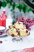 Cherry blondies on a cake stand