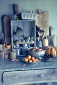 Fruit and vegetables on an antique cupboard