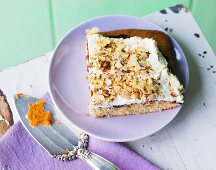 Plum compote tray bake cake with cream and hazelnuts