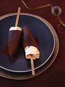 Passion fruit parfait dipped in chocolate